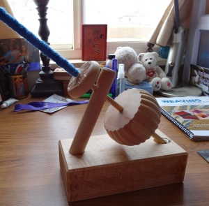 First attempt at spinning on a kick spindle. Could have been worse.