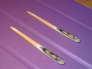 Naalbinding needles, made of 15,000 year old mammoth ivory, made by a friend in the Netherlands.